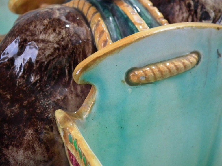 Jerome Massier Majolica Camel with Baskets Figure For Sale 2