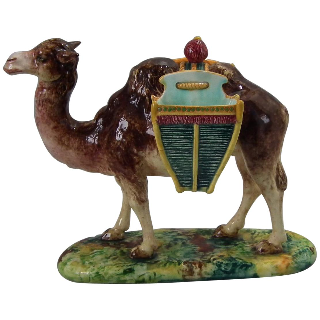 Jerome Massier Majolica Camel with Baskets Figure