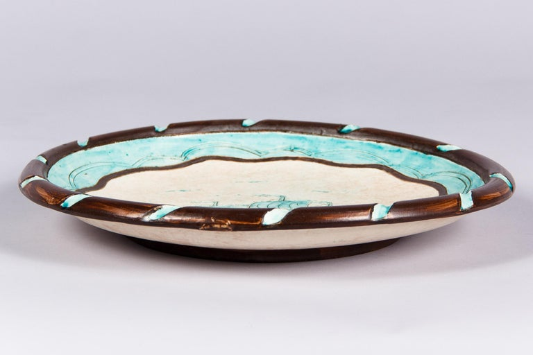 Hand-Painted Jerome Massier Vallauris French Terracotta Dish with Sailboat, 1950s