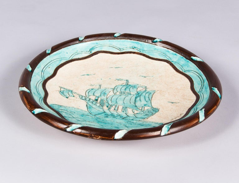Jerome Massier Vallauris French Terracotta Dish with Sailboat, 1950s In Good Condition In Austin, TX