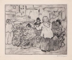 On Rivington Street, Lower East Side, c1910 Etching by Jerome Myers