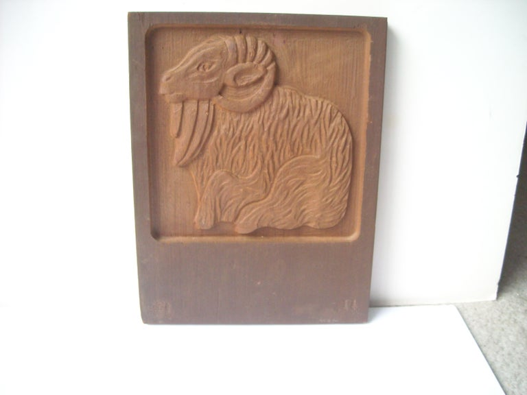 American Jerry and Evelyn Ackerman Wood Carving Sculpture/Panel, by Era Industries Marked For Sale