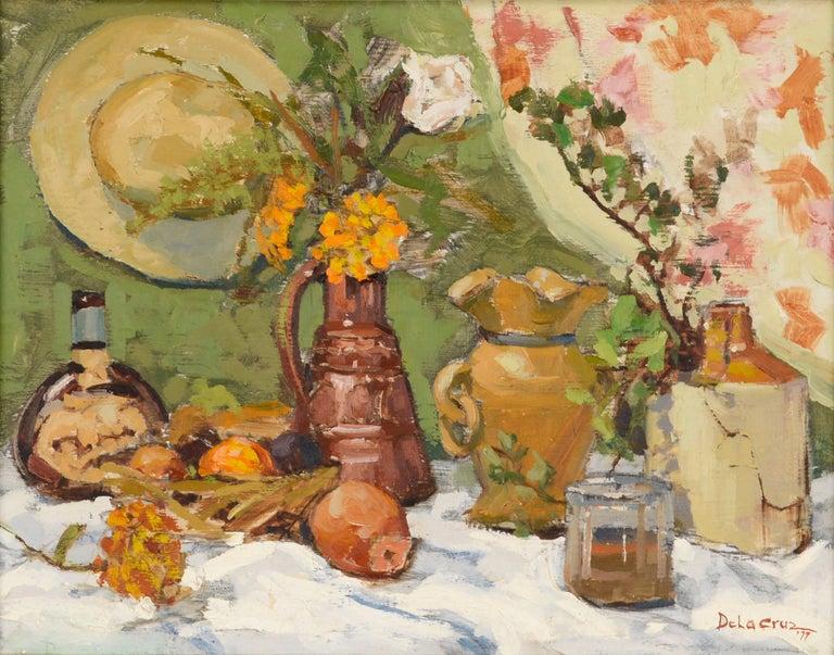 Still-Life with Terracotta & Hat  - Painting by Jerry De La Cruz