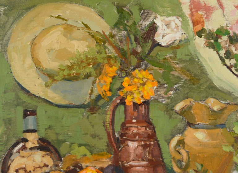 Still-Life with Terracotta & Hat  - American Impressionist Painting by Jerry De La Cruz