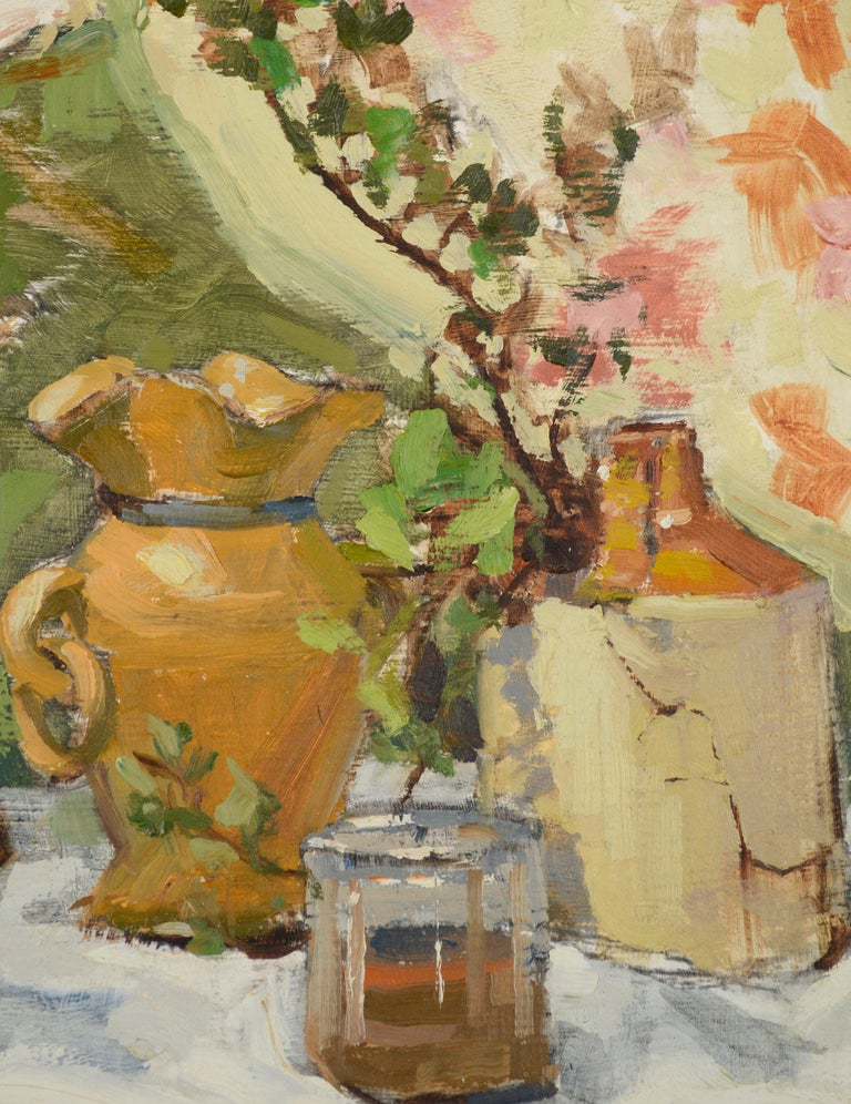 Still-Life with Terracotta & Hat  - Brown Still-Life Painting by Jerry De La Cruz