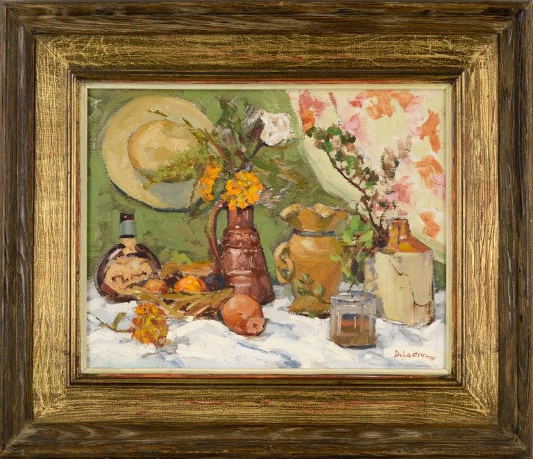 Jerry De La Cruz Still-Life Painting - Still-Life with Terracotta & Hat