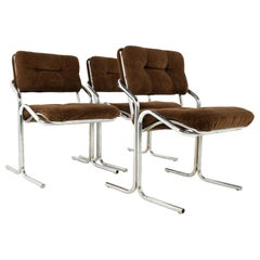 Jerry Johnson Mid Century Chrome Dining Chairs, Set of 3