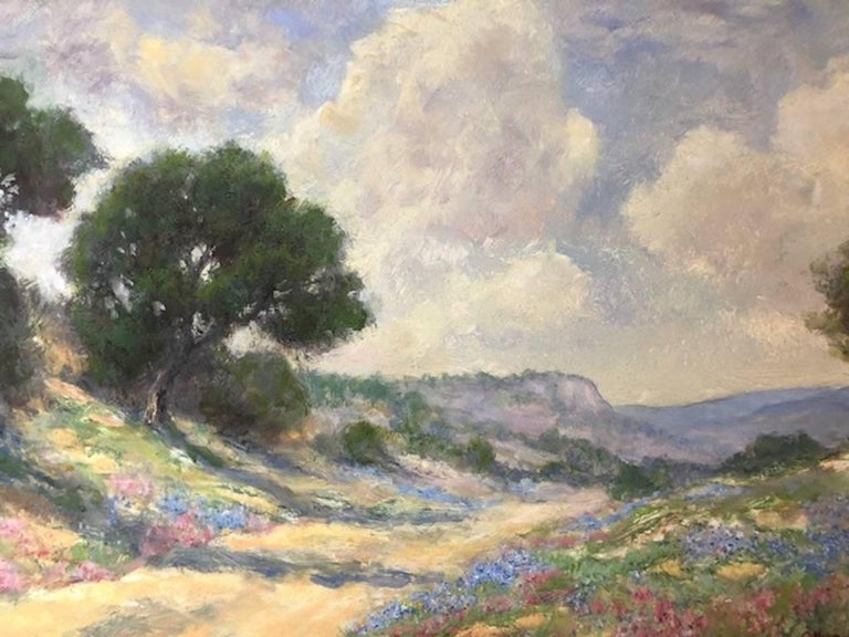 Bluebonnets - Brown Landscape Painting by Jerry Malzahn