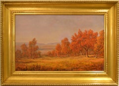 "Jerry Malzahn, ""The Red Oak"" Oil on Board 18 1/2 x 29 Texas landscape"