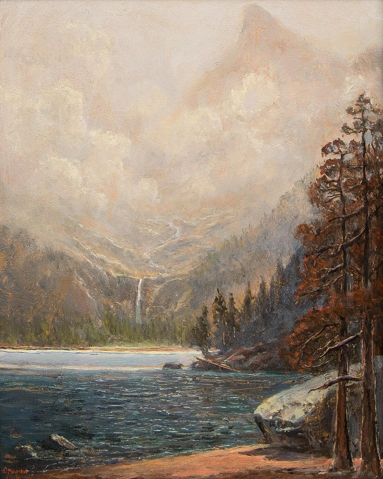 Odessa Lake, Colorado, Traditional Landscape Painting: Water, Trees and Mountain For Sale 1