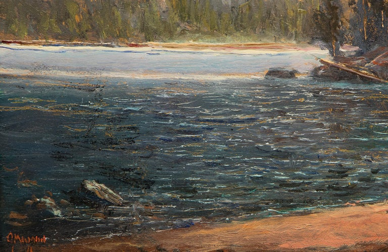 Odessa Lake, Colorado, Traditional Landscape Painting: Water, Trees and Mountain For Sale 2