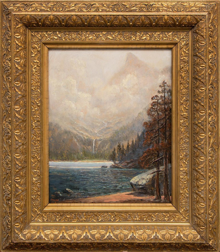 Original mountain landscape oil painting of Odessa Lake Rocky Mountain National Park, near Estes Park & Bear Lake in Colorado by Jerry Malzahn (1946-2019), painted in a traditional, Hudson River, Luminist style with pine/conifer trees and a