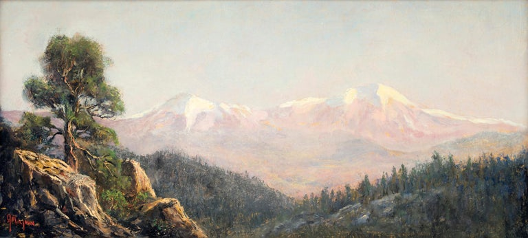 Spanish Peaks (Traditional Colorado Mountain Landscape with Snowcapped Peaks) - Painting by Jerry Malzahn