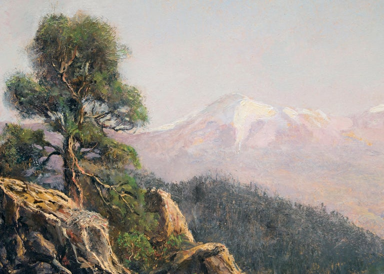Spanish Peaks (Traditional Colorado Mountain Landscape with Snowcapped Peaks) - Hudson River School Painting by Jerry Malzahn