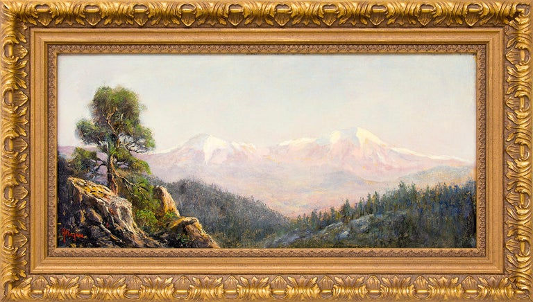 Jerry Malzahn Landscape Painting - Spanish Peaks (Traditional Colorado Mountain Landscape with Snowcapped Peaks)