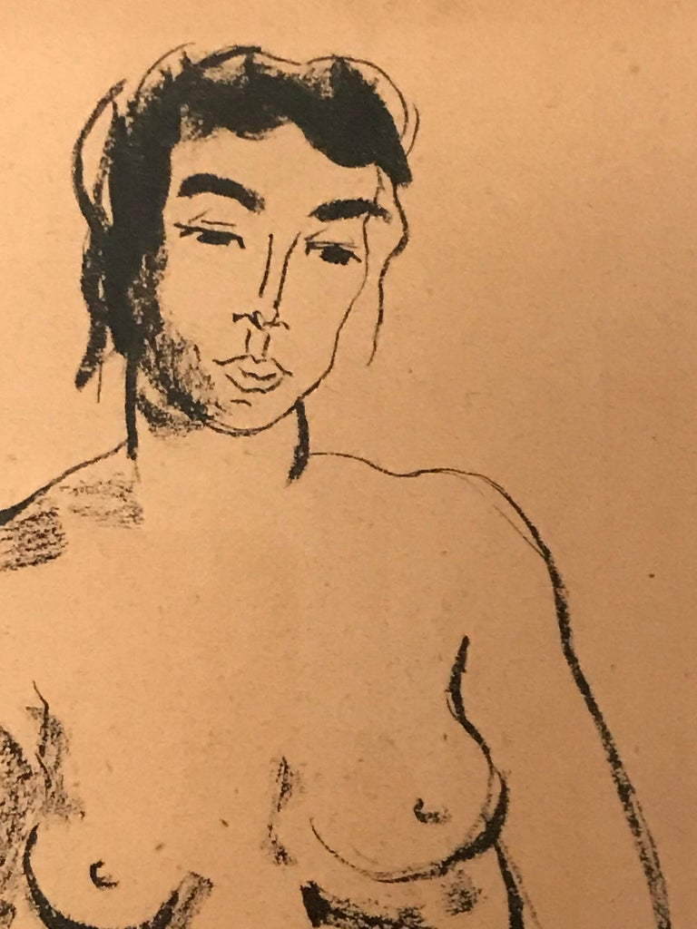 Gracious nude of a woman ink drawing made on craft paper.