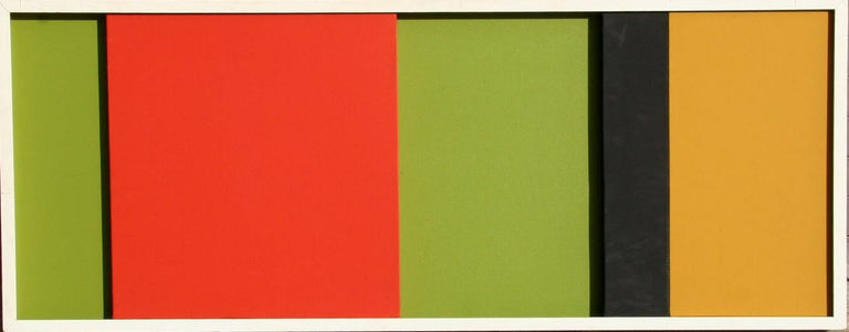 An oil painting with movable panels by Jerry Okimoto from 1964. An abstract color block painting that can be shifted and re-arranged.   Artist: Jerry Okimoto, Japanese/American (1924 - 1998) Title: Untitled  Year: circa 1964 Medium: Oil on Canvas