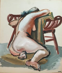 1950s Bay Area Figurative Gouache Female Nude Painting Jerry Opper