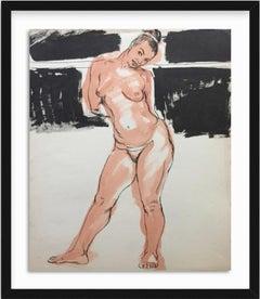 1950s Bay Area Model Flo Allen Nude Gouache Painting