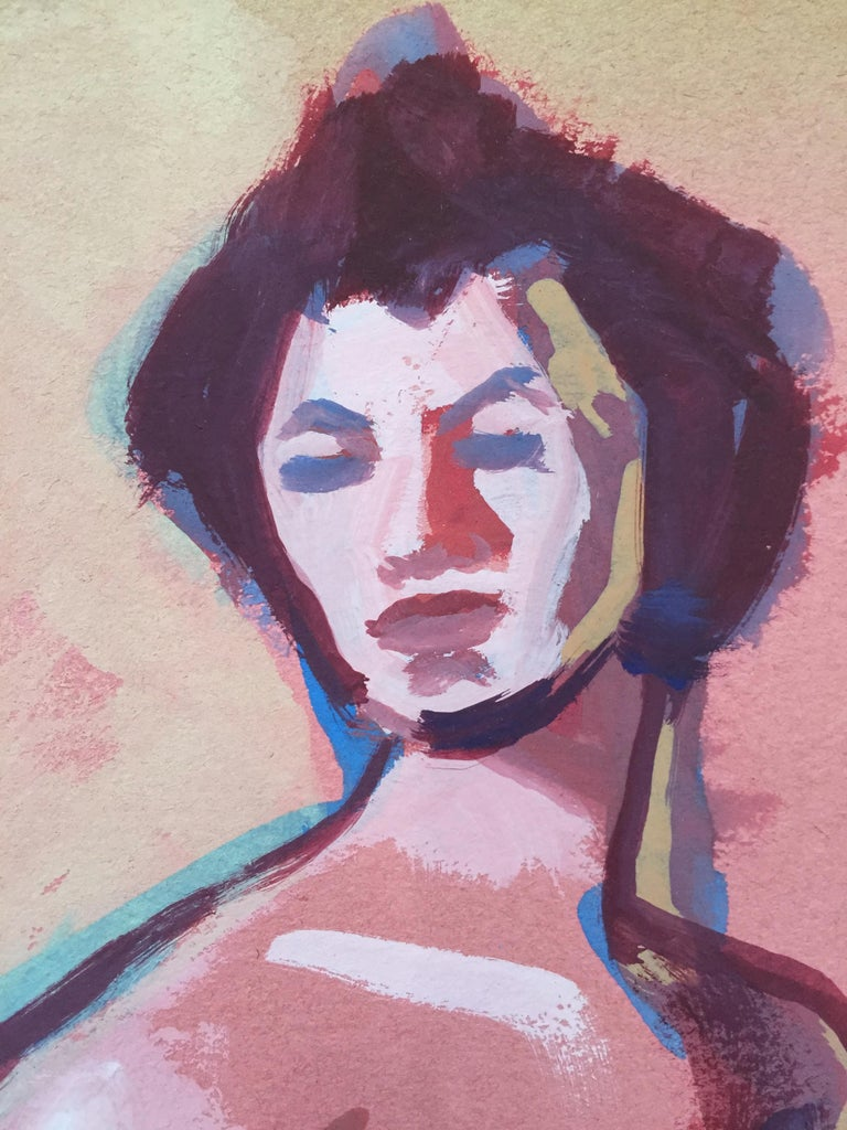 From the estate of Jerry Opper & Ruth Friedman Opper Pink Lady c. 1940-1950's Gouache on Paper 15