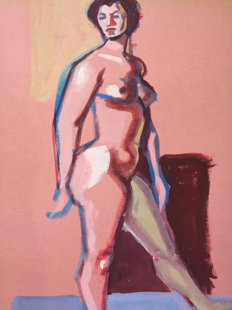 """Jerry Opper Figurative Painting - 1950s """"Pink Lady"""" Mid Century Gouache Female Nude Painting"""