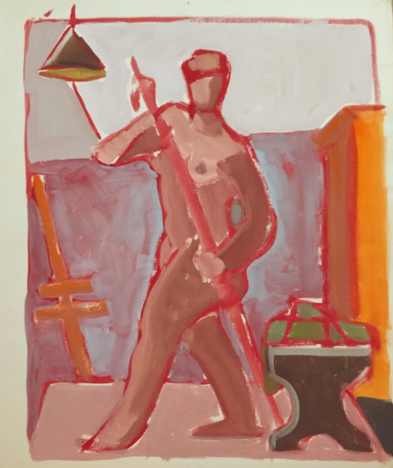 Jerry Opper Figurative Painting - Mid Century Nude Gouache Painting San Francisco Artist SFMOMA