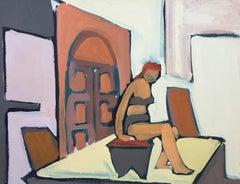 """Bikini"" 1950s Bay Area Figurative Gouache Painting"