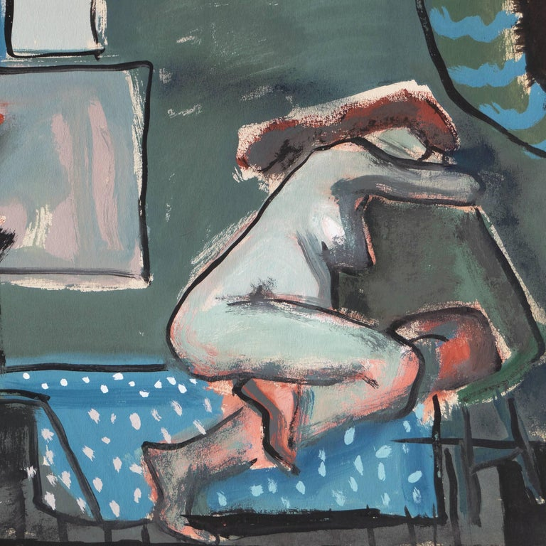 'In a Blue Room', Post-Impressionist Interior, Cincinnati Art Museum, Brooklyn   - Gray Figurative Painting by Jerry Opper