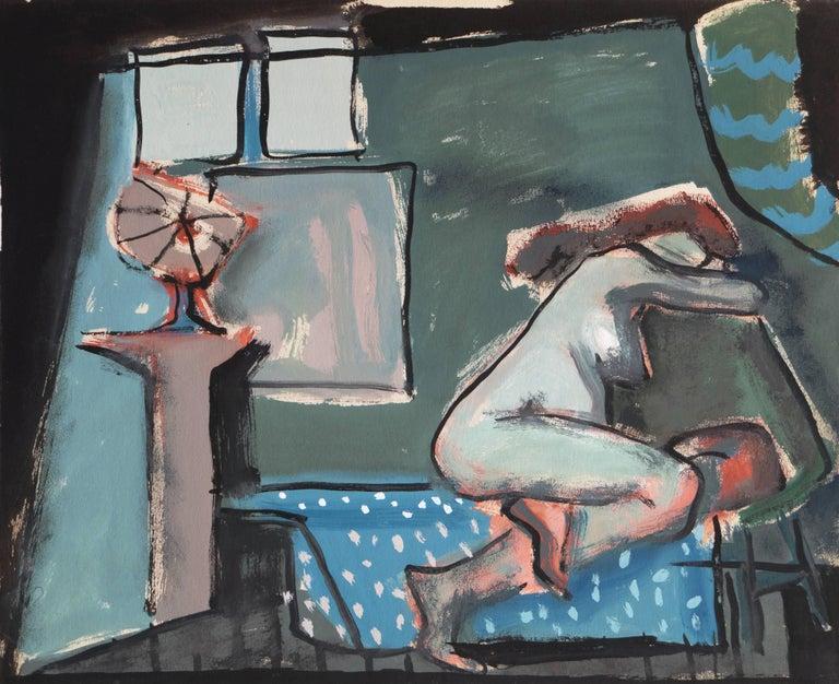 Jerry Opper Figurative Painting - 'In a Blue Room', Post-Impressionist Interior, Cincinnati Art Museum, Brooklyn