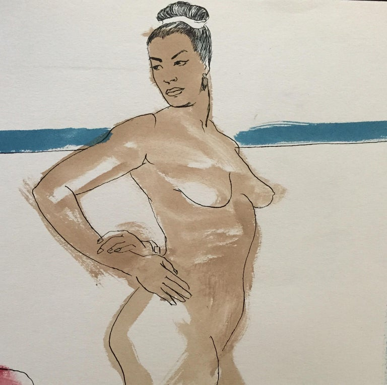 Mid Century Flo Allen Gouache Female Nude Painting SF Diego Rivera, Rothko - Beige Figurative Painting by Jerry Opper