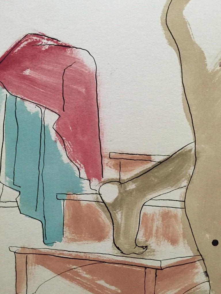 Mid Century Flo Allen Gouache Female Nude Painting SF Diego Rivera, Rothko 1
