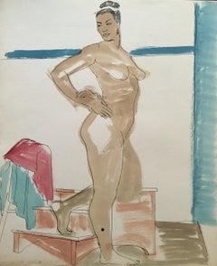 Mid Century Flo Allen Gouache Female Nude Painting SF Diego Rivera, Rothko