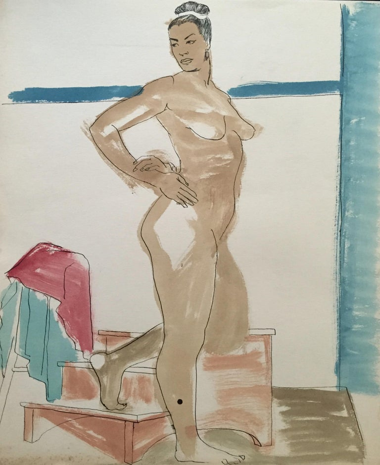 Jerry Opper Figurative Painting - Mid Century Flo Allen Gouache Female Nude Painting SF Diego Rivera, Rothko