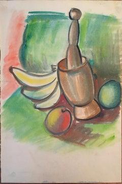 Mid Century Fruit Still Life Gouache Painting Bay Area Artist