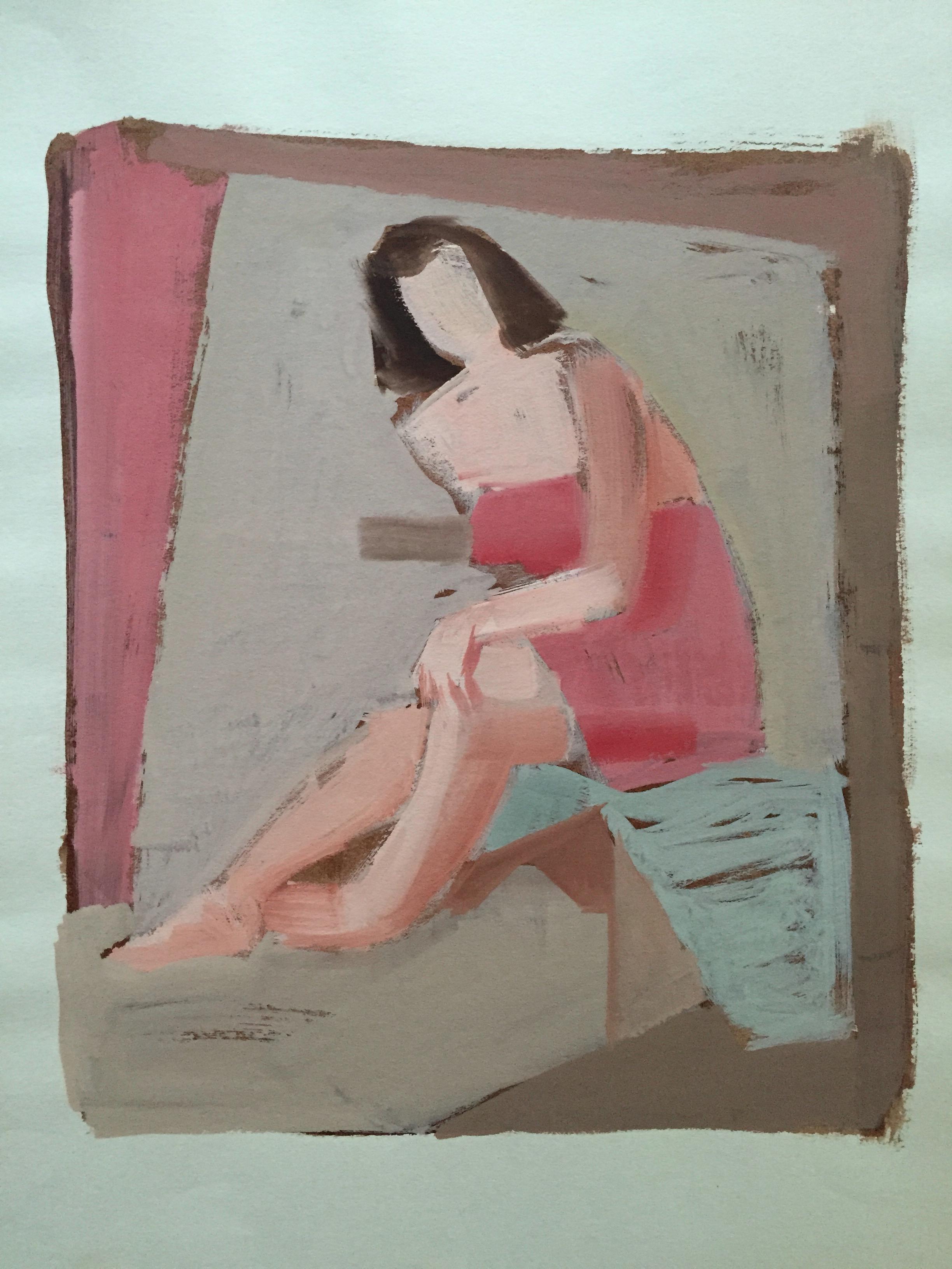 Mid Century Gouache on Paper Female Nude Painting SFMOMA