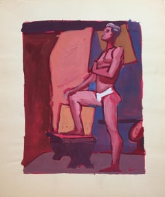 """""""Tighties"""" Jerry Opper 1950's Gouache Male Nude Mid Century Painting"""