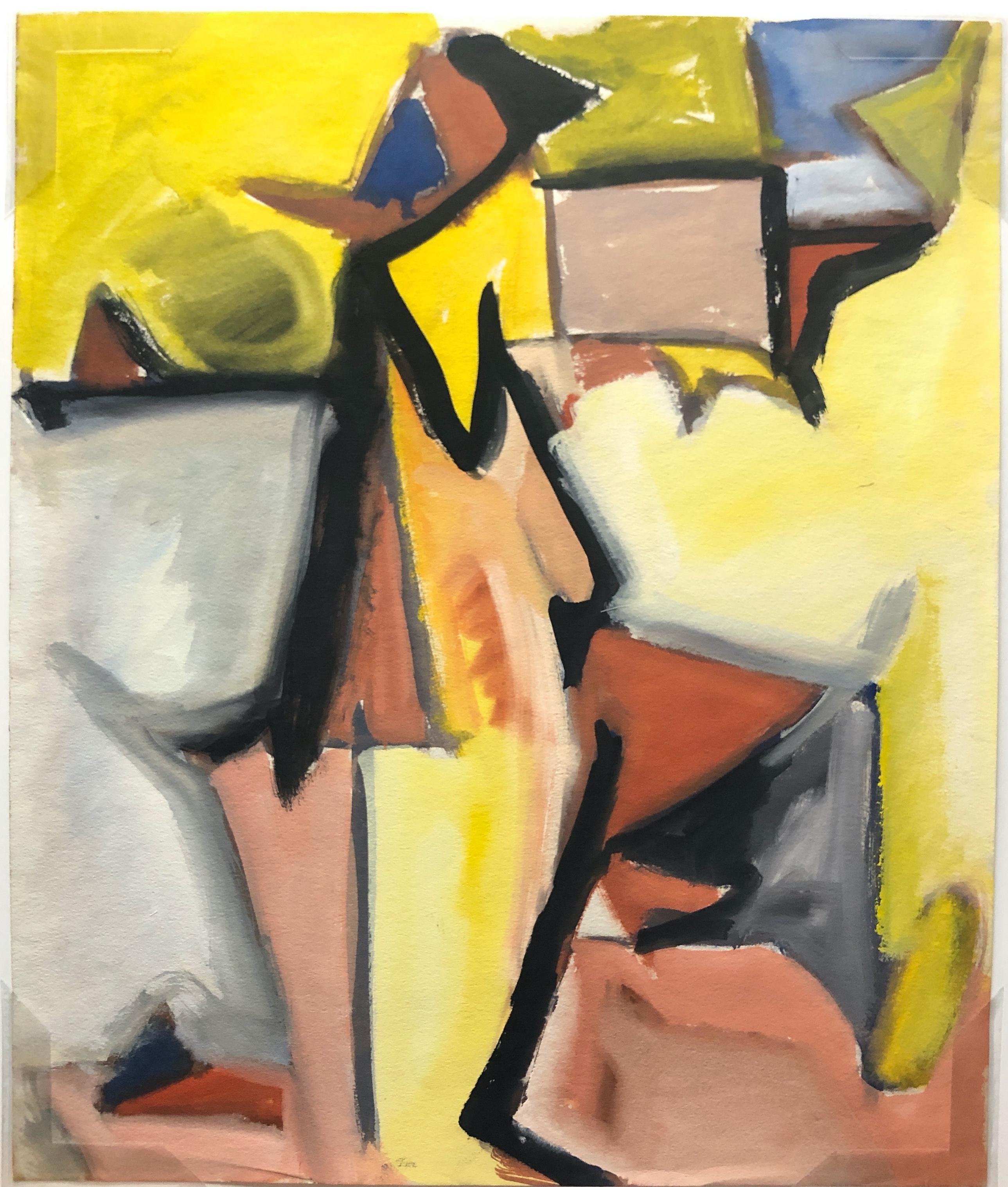 """Yellow Cubist Figure"" 1950s Gouache Cubist Painting Bay Area Mid Century"