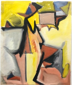 """Yellow Cubist Figure"" 1950s Gouache Cubist Painting Bay Area Mid Century"