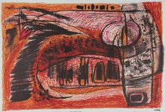 Abstracted Landscape Lithograph, Circa 1940s-50s