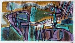 Abstracted Landscape Lithograph, Circa 1950s