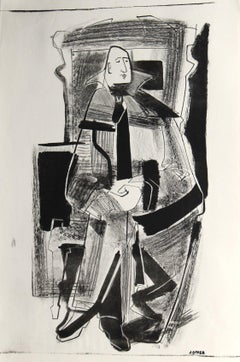 Abstracted Seated Figure 1940-50s Stone Lithograph