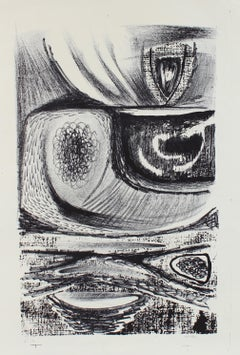 Amorphic Monochrome Abstract 1940-50s Lithograph