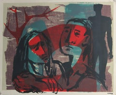 Cool Toned Modernist Figures 1940-50s Stone Lithograph
