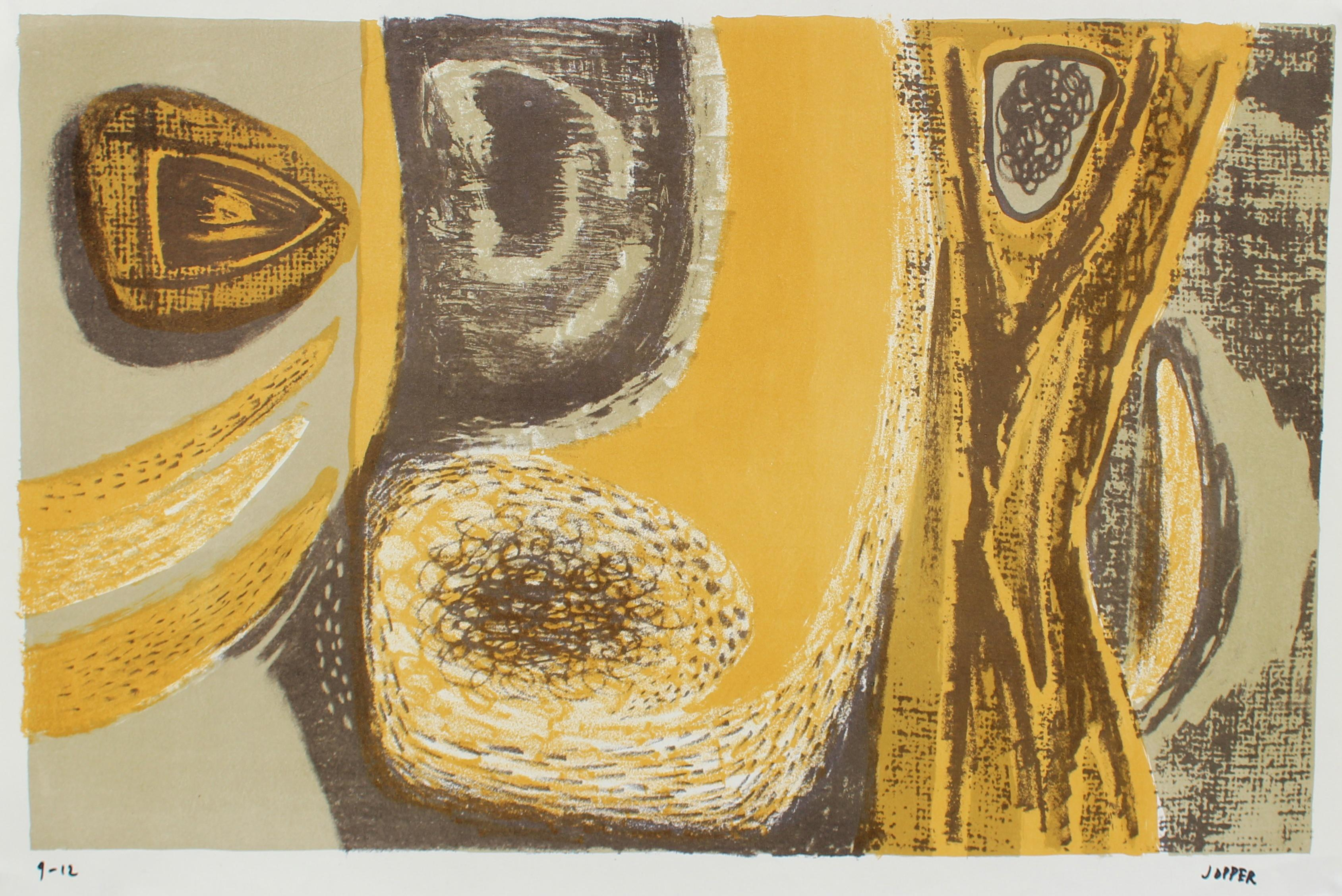 Golden Yellow Modernist Abstract 1940-50s Lithograph