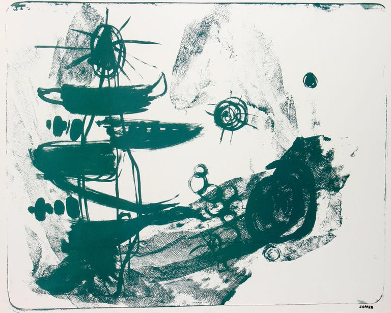 This 1950 abstract Modern stone lithograph on paper in green is by Californian artist Jerry Opper (b. 1924). After graduating from Hollywood High School, he worked in movie studios and attended art classes at Chouinard Art Institute in Los Angeles.