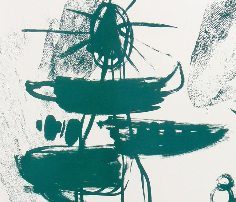 Mid Century Abstract Modern Stone Lithograph on Paper in Green, 1950 2