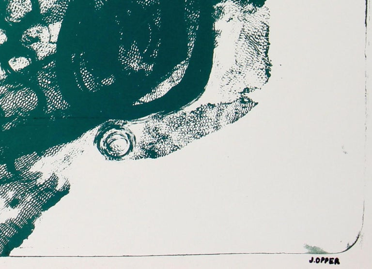 Mid Century Abstract Modern Stone Lithograph on Paper in Green, 1950 3