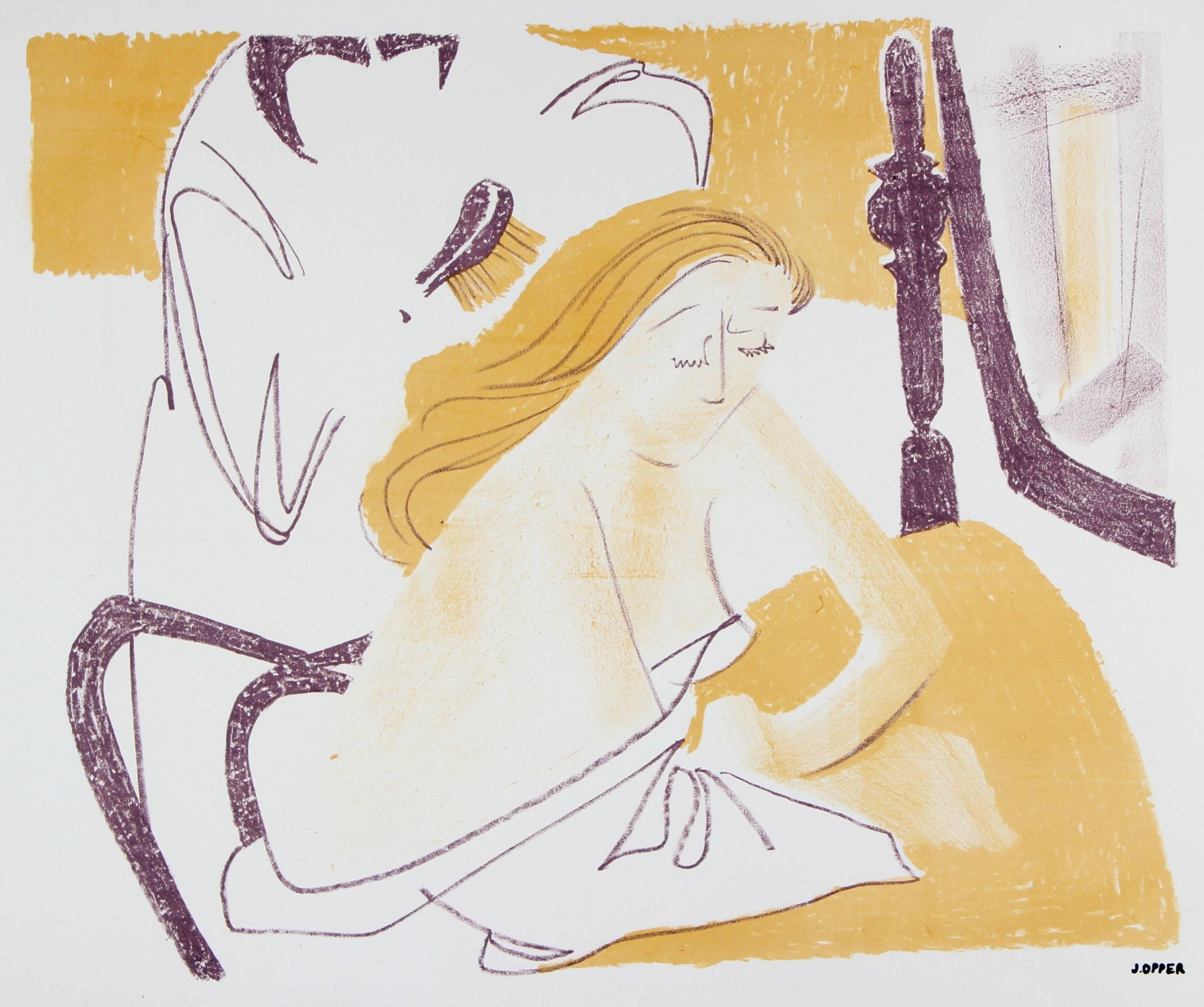 Mid Century Bedroom Scene, Lithograph Print on Paper, Circa 1950s