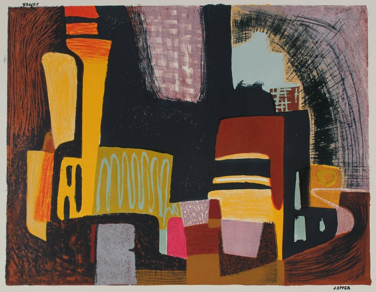 Jerry Opper Mid Century Cityscape Abstract Stone