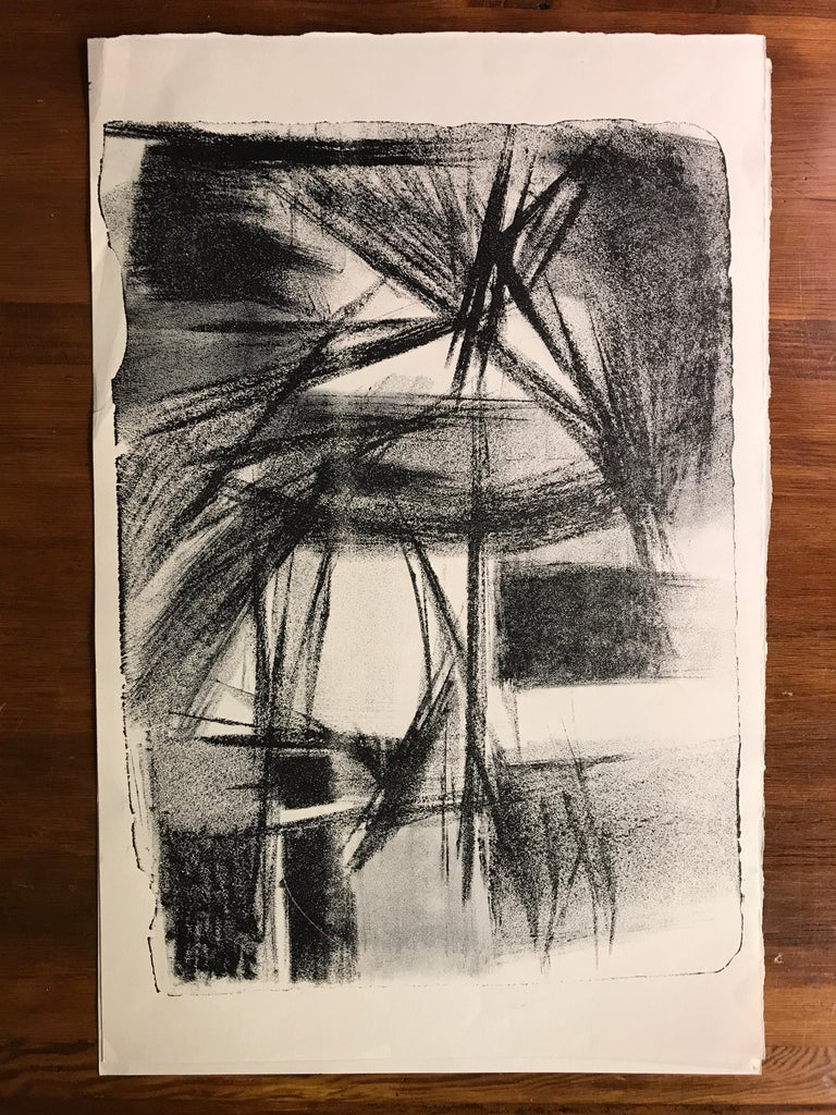 Mid Century Jerry Opper Stone Lithograph Black & White